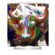 Colorful Wall Street Bull Shower Curtain