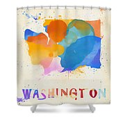 Colorful Washington State Map Shower Curtain