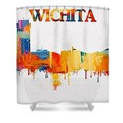 Colorful Wichita Skyline Silhouette Shower Curtain