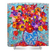 Colorful Wildflowers - Abstract Floral Art By Ana Maria Edulescu Shower Curtain