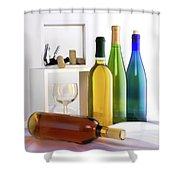 Colorful Wine Bottles Shower Curtain