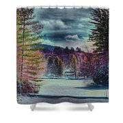 Colorful Winter Wonderland Shower Curtain