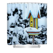 Colorful Wooden Birdhouse In The Snow Shower Curtain