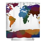 Colorful World Map Shower Curtain