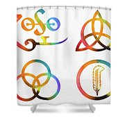 Colorful Zoso Symbols Shower Curtain