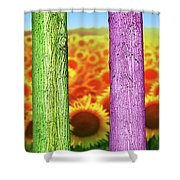 Colorfull Tree Trunks In Thefield. Abstract Psychedelic Colors Shower Curtain