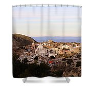 Colorfusk Dusk Sky Over A Typical Mexican Town Shower Curtain