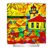 Colors Of Lime Kiln Lighthouse Shower Curtain