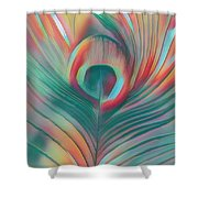 Colors Of The Rainbow Peacock Feather Shower Curtain