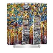 Colourful Autumn Aspen Trees By Lena Owens @olena Art Shower Curtain