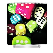 Colourful Casino Dice  Shower Curtain