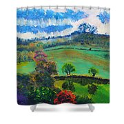 Colourful English Devon Landscape - Early Evening In The Valley Shower Curtain