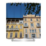 Colourful Facade Of Traditional Buildings In Como, Italy Shower Curtain