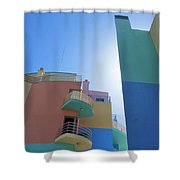 Colourful Marina Buildings Albufiera Portugal Shower Curtain