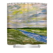 Colourful Sky Over The Creek Shower Curtain