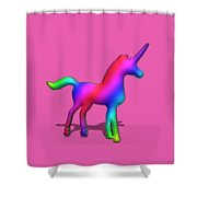 Colourful Unicorn In 3d Shower Curtain