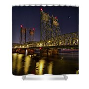 Columbia Crossing I-5 Interstate Bridge At Night Shower Curtain