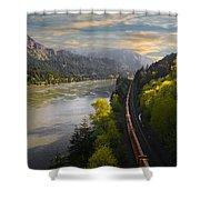 Columbia Gorge Train Shower Curtain