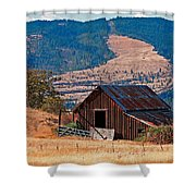 Columbia River Barn Shower Curtain