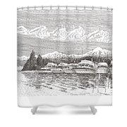 Columbia River Raft Up Shower Curtain