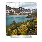 Columbine Lake And Alpine Sunflower Landscape Shower Curtain