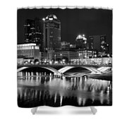 Columbus Black Night Shower Curtain