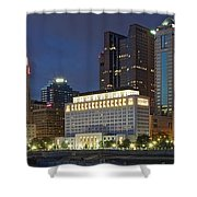 Columbus Night Panorama Shower Curtain