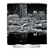 Columbus Ohio Black And White Shower Curtain