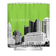Columbus Ohio Skyline - Olive Shower Curtain