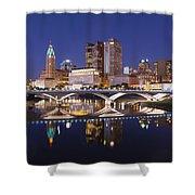Columbus Skyline Reflection Shower Curtain