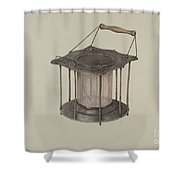 Combined Stove And Lantern Shower Curtain