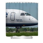 Come Fly With Blue Shower Curtain