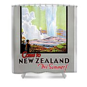Come To New Zealand Vintage Travel Poster Shower Curtain
