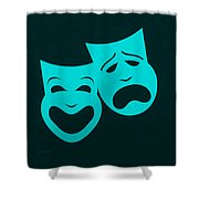 Comedy N Tragedy Aquamarine Shower Curtain
