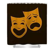 Comedy N Tragedy Black Orange Shower Curtain
