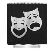 Comedy N Tragedy Black White Shower Curtain