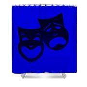 Comedy N Tragedy Blue Shower Curtain