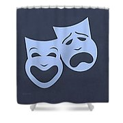 Comedy N Tragedy Cyan Shower Curtain