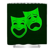 Comedy N Tragedy Green Shower Curtain