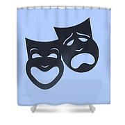 Comedy N Tragedy Neg Cyan Shower Curtain