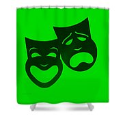 Comedy N Tragedy Neg Green Shower Curtain
