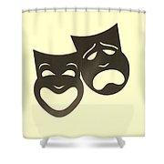 Comedy N Tragedy Neg Sepia Shower Curtain