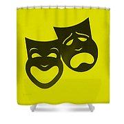 Comedy N Tragedy Neg Yellow Shower Curtain