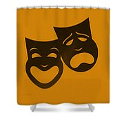 Comedy N Tragedy Orange Shower Curtain