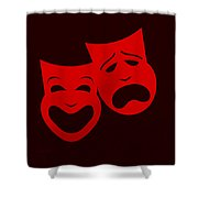 Comedy N Tragedy Red Shower Curtain