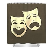 Comedy N Tragedy Sepia Shower Curtain