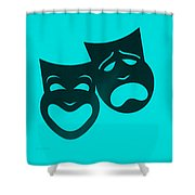 Comedy N Tragedy Turquoise Shower Curtain