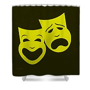 Comedy N Tragedy Yellow Shower Curtain