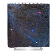 Comet Lovejoys Long Ion Tail In Taurus Shower Curtain