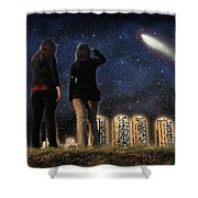 Comet Over The City Shower Curtain